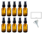 30ml Amber Glass Boston Round Treatment Pump Bottle (10 pack) + Funnel and Labels for essential oils, aromatherapy, food grade, bpa free