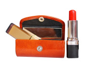 Rakhi Gifts Leather Brown Lipstick Case Holder - Organiser Bag for Purse- lipstick holder- Durable Soft Leather -Cosmetic Storage Kit With Mirror