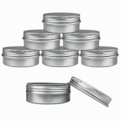 Aluminium Tin Jars, Cosmetic Sample Metal Tins Empty Container Bulk, Round Pot Screw Cap Lid, Small Ounce for Candle, Lip Balm, Salve, Make Up, Eye Shadow, Powder