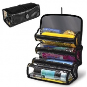 Roll Up Cosmetic Travel 4 Compartments Organiser Grooming Storage Makeup