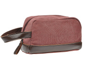 Travel Toiletry Bag,Vintage Leather Canvas Shaving Zipper Dopp Kit Cosmetic Bag