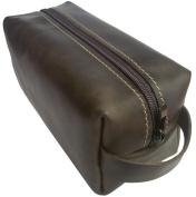 Men's Leather Crazy Horse Toiletry Bag Dopp Kit Grooming Shaving Accessory Travel Organiser