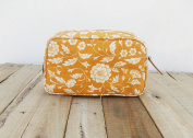 Yellow toiletry bag, floral print, laminated bag, block print cotton, leather trims, make up or cosmetic bag, utility pouch.