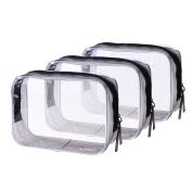 "BCP 3 PCS 6.75"" x 4.75"" x 2.25"" PVC Transparent Plastic Zipper Bag Airline Carry On Clear Travel Toiletry Bag"