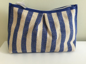 Nordstrom Cosmetic/Travel Makeup Bag, Blue/Tan Pleated Woven Cotton , Large