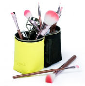 bag in bag PU Mesh Makeup Brush Holder Pen Organiser Case Half Open 2 Cup Snap Together,Yellow