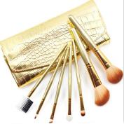 7Pcs Makeup brushes Cosmetic Beauty Brush Set with Crocodile Straps Leather Set Case Bag Gold