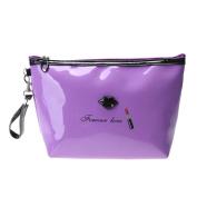 YABINA Handy Cosmetic Pouch Clutch Waterproof PU Leather Printed Pattern Makeup Bag