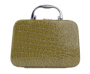 Genda 2Archer PU Leather Crocodile Pattern Cosmetic Jewellery Box Makeup Case Toiletry Handbag with Mirror