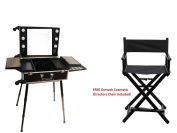 Professional Rolling Studio Makeup Vanity Train Case with LED Lights Mirror FREE CHAIR
