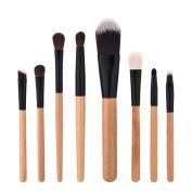 Cinidy Makeup Brushes Set 8pcs Wood Colour Wooden Handle Makeup Brush Professional Eyeshadow Eyeliner Powder Foundation Blush Cosmetics Brushes Beauty Tools