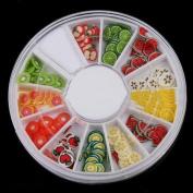 Ecosin Fruit Nail Paste DIY Nail Art Decorations Fruit Slices 3D Wheel Nail Art Rhinestones Acrylic
