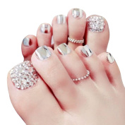 Aisa Women Bling Rhinestone Mirror Art Fake Nail Stickers Full Wrap Toe Nail Tip Patch With Glue