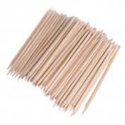 Coobbar 100pcs Nail Art Orange Wood Stick Cuticle Pusher Remover for Manicures