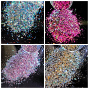 CoolNai 4pcs Iridescent Colourful Blue Red Rose Gold Pink Nails Art Glitter 3D Mix Size Nail Powder for DIY Nails Surface Brilliant Decoration Tool