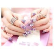 Dongcrystal 24Pcs 3D Bling Nail Art Jewellery Glitter Rhinestone Decor Purple Nail Tips Fake Nails