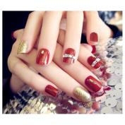 Dongcrystal 24Pcs 3D Bling Nail Art Jewellery Glitter Rhinestone Decor Red Nail Tips Fake Nails