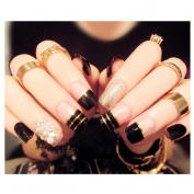Dongcrystal 24Pcs 3D Bling Nail Art Jewellery Glitter Rhinestone Decor Nail Tips Fake Nails