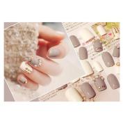 Dongcrystal 24Pcs 3D Bling Nail Art Jewellery Glitter Rhinestone Decor Grey Nail Tips Fake Nails