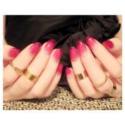 Dongcrystal 24Pcs 3D Bling Nail Art Jewellery Glitter Rhinestone Decor Rose Red Nail Tips Fake Nails