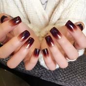 CoolNail Charming Gradients Brown Tawny Fake Nail Art Tips Shimmer Glitter Medium Full Cover False Nails 24pcs