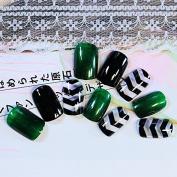 CoolNail DIY Nail Accessories Black Dark Green False Nails Angle Stripe Acrylic Fake Nail Tips 24pcs Nail Set