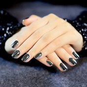 CoolNail Short Square Metallic Acrylic Nails Dark Gun Grey Mirror False Nails 24pcs kit with Double Side Glue Sticker in OPP bag