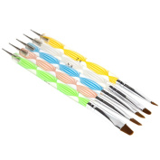 5x 2-way Colourful Nail Art Acrylic UV Gel Dotting Marbleizing Tool Brushes Kit