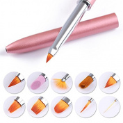 NICOLE DIARY 10 in 1 Brushes Set Changeable Liner UV Gel Powder Glitter Gradient Acrylic Drawing Pen Manicure Nail Art Kit