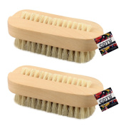 """2 x COTU (R) Wooden Nail Brush with Dual Sided Bristles - 3.75"""" x 1.375"""""""