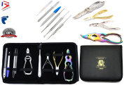 BeautyTrack Podiatry Podiatrist Chiropody Manicure 10Pc Multi Colour Set - Chiropodist Nail Nipper Clippers - Nail Files