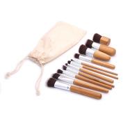 Fermi 11pcs Natural Bamboo Professional Makeup Brushes Set Foundation Blending Brush Tool Cosmetic Kits Makeup Set Brusher