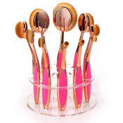 Neverland Beauty 10pcs Rose Gold & Rose Red Toothbrush Elite Oval Makeup Brushes with Case Box + Oval Makeup Brush Holder Drying Rack Organiser Cosmetic Shelf Tool