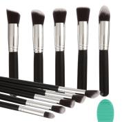 Angeltyr Makeup Brushes Set Premium Synthetic Kabuki Cosmetics Foundation Blending Blush Eyeliner Face Powder Brush Makeup Brush Kit and Brush Egg