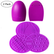 V-noah Silicone Brush Cleaners Make Up Washing Brush Egg Silica Finger Glove + Threeleaf Shape Makeup Brushes Cleaning Mat with Suction Cup Scrubber Board Cosmetic Clean Tools