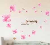BIBITIME Valentine's Day Couple Butterfly Sayings the blooming flower of happiness in the other shore Quotes Stickers Pink Lily Wall Decal for Girlfriend Bedroom