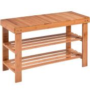Costway Shoe Rack Bench 3-tier Bamboo Shelf Flat Organiser