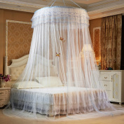 Guerbrilla Luxury Princess Pastoral Lace Bed Canopy Net Crib Luminous butterfly, Round Hoop Princess Girl Pastoral Lace Bed Canopy Mosquito Net Fit Crib Twin Full Queen Extra large Bed
