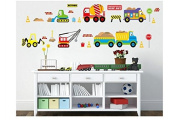 Engineering Vehicles Set Carroon Removable Cartoon Wall Sticker Wall Decal Wall Decor Wallpaper for Baby Kids Boys Girls Children Nursery Home