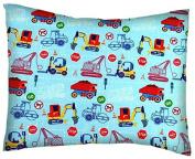 SheetWorld Crib / Toddler Percale Baby Pillow Case - Construction Zone - Made In USA
