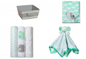 Baby Gift Set Storage Bin with Plush Baby Blanket, Muslin Swaddle, Elephant Security Blanket