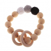 MonkeyJack Organic Natural Wood Bright Colours Crochet Round Beads Ring Bracelet Teether Baby Grasping Nursing Toys - 2
