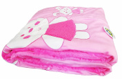 COCO BABY Ultra Soft Borrego Reversible Blanket, Bunny Design, 150cm L x 100cm W, Pink