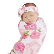 Newborn Baby Floral Swaddle Blanket Headband Soft Baby Receiving Blankets