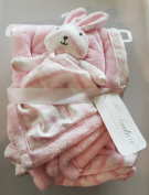 My Little Adventure Baby Blanket Pink and White Stripes with Rabbit Plush Toy