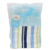 Little Beginnings Blue White Green Stripe Fleece Boy's Blanket