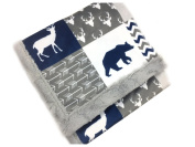 Minky Baby Blanket, Woodland style in Navy and Grey, 70cm x 100cm