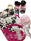 Baby Girl Blanket, Booties, Sun Bonnet, Rose Hair Band, Handy Tote - Shower, Baby, Christmas Gift