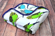 Oliver + Kit - Birds of a Feather - 8-Layer Cotton - Reversible Cuddle Blanket
