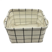 Small Storage Basket with Handles, Cotton Fabric Foldable Storage Organiser Bins for Nursery Kids Room Shelves & Desks